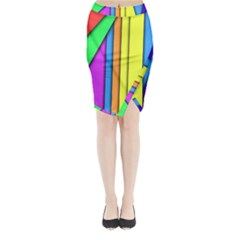 More Color Abstract Pattern Midi Wrap Pencil Skirt