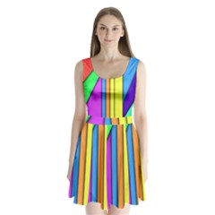 More Color Abstract Pattern Split Back Mini Dress