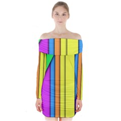 More Color Abstract Pattern Long Sleeve Off Shoulder Dress