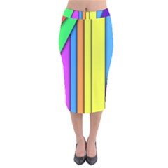 More Color Abstract Pattern Velvet Midi Pencil Skirt
