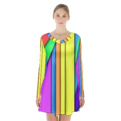 More Color Abstract Pattern Long Sleeve Velvet V Neck Dress