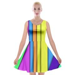 More Color Abstract Pattern Velvet Skater Dress