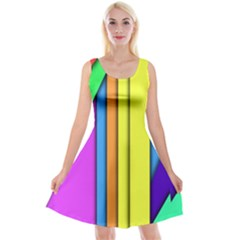 More Color Abstract Pattern Reversible Velvet Sleeveless Dress