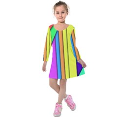 More Color Abstract Pattern Kids  Long Sleeve Velvet Dress