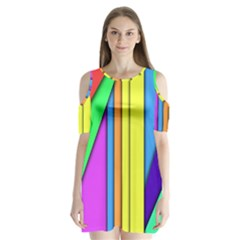 More Color Abstract Pattern Shoulder Cutout Velvet  One Piece