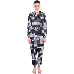 Noise Texture Graphics Generated Hooded Jumpsuit (Ladies)