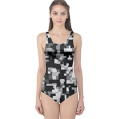 Noise Texture Graphics Generated One Piece Swimsuit