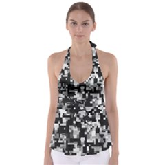 Noise Texture Graphics Generated Babydoll Tankini Top