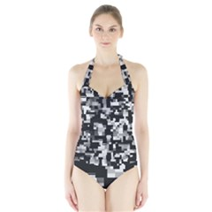 Noise Texture Graphics Generated Halter Swimsuit