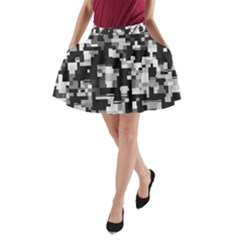 Noise Texture Graphics Generated A-Line Pocket Skirt