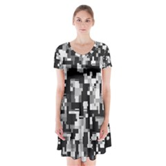 Noise Texture Graphics Generated Short Sleeve V-neck Flare Dress