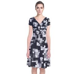 Noise Texture Graphics Generated Short Sleeve Front Wrap Dress