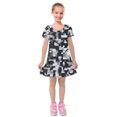 Noise Texture Graphics Generated Kids  Short Sleeve Velvet Dress
