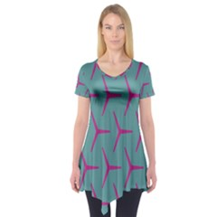 Pattern Background Structure Pink Short Sleeve Tunic