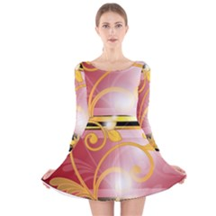Pattern Vectors Illustration Long Sleeve Velvet Skater Dress