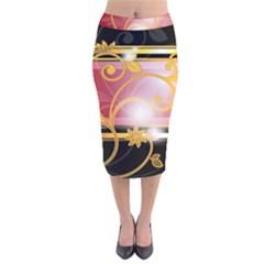 Pattern Vectors Illustration Velvet Midi Pencil Skirt