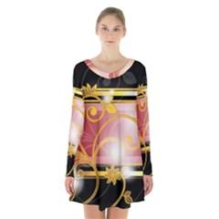 Pattern Vectors Illustration Long Sleeve Velvet V Neck Dress