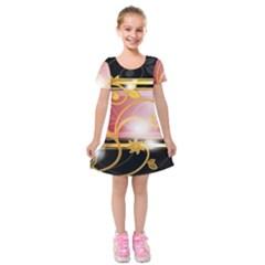 Pattern Vectors Illustration Kids  Short Sleeve Velvet Dress