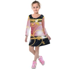 Pattern Vectors Illustration Kids  Long Sleeve Velvet Dress