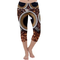 Owl Coffee Art Capri Yoga Leggings