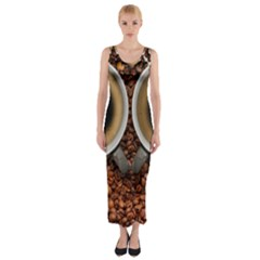 Owl Coffee Art Fitted Maxi Dress