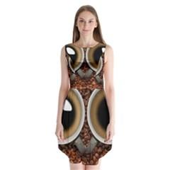 Owl Coffee Art Sleeveless Chiffon Dress
