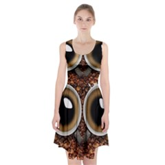 Owl Coffee Art Racerback Midi Dress