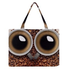 Owl Coffee Art Medium Zipper Tote Bag
