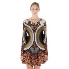 Owl Coffee Art Long Sleeve Velvet V Neck Dress