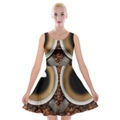 Owl Coffee Art Velvet Skater Dress