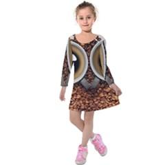 Owl Coffee Art Kids  Long Sleeve Velvet Dress