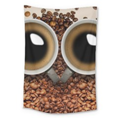 Owl Coffee Art Large Tapestry