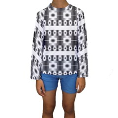 Pattern Background Texture Black Kids  Long Sleeve Swimwear