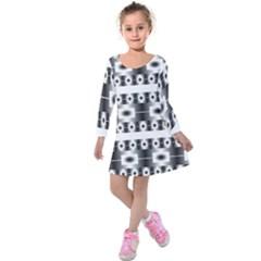 Pattern Background Texture Black Kids  Long Sleeve Velvet Dress