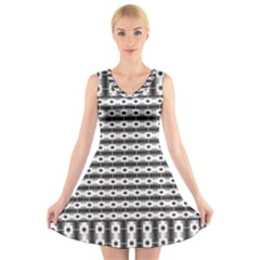 Pattern Background Texture Black V-Neck Sleeveless Skater Dress