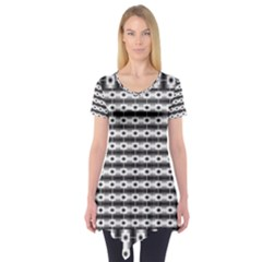 Pattern Background Texture Black Short Sleeve Tunic