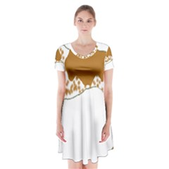 American English Coonhound Silo Color Short Sleeve V-neck Flare Dress