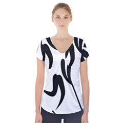 Ice Hockey Pictogram Short Sleeve Front Detail Top