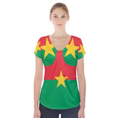 Flag of Burkina Faso Short Sleeve Front Detail Top