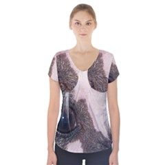 Chinese Crested Eyes Short Sleeve Front Detail Top