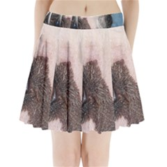 Chinese Crested Eyes Pleated Mini Skirt
