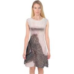 Chinese Crested Eyes Capsleeve Midi Dress