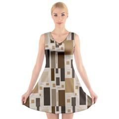 Pattern Wallpaper Patterns Abstract V-Neck Sleeveless Skater Dress