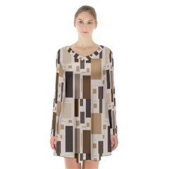 Pattern Wallpaper Patterns Abstract Long Sleeve Velvet V Neck Dress