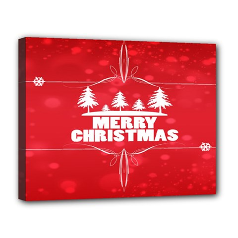 Red Bokeh Christmas Background Canvas 14  x 11