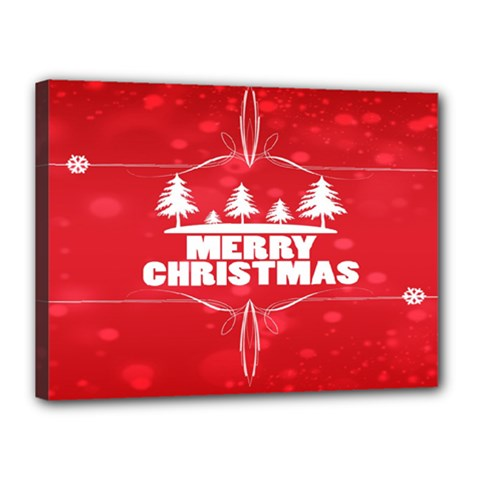 Red Bokeh Christmas Background Canvas 16  x 12