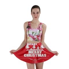 Red Bokeh Christmas Background Mini Skirt