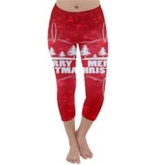 Red Bokeh Christmas Background Capri Winter Leggings
