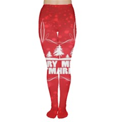 Red Bokeh Christmas Background Women s Tights