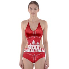 Red Bokeh Christmas Background Cut-Out One Piece Swimsuit